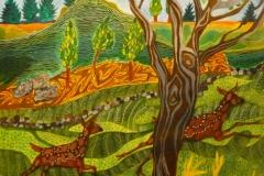 """""""Dådyrene løber"""" , maleri af Nete Riemann, Ecoline og farveblyant, 41 x 31"""
