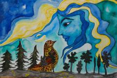 """""""Samtale med fugl"""", maleri af Nete Riemann, Ecoline, 38 x 28"""