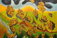 """Efteråret kommer"" - maleri af Nete Riemann - akryl - 70x60 cm."