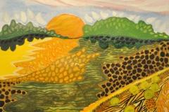 """""""En tør sommer""""- af Nete Riemann - Akvarel på papir,  21x29,7"""