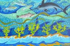"""""""En hyldest til jorden under havet"""" - af Nete Riemann -  Akryl,  60 X 80"""