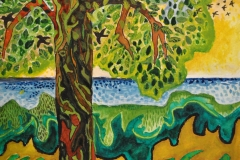 """""""Fuglenes træ"""" - af Nete Riemann - Akvarel på papir, 17x24"""