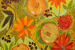 """""""Fyldigt Efterår"""" - af Nete Riemann - Gouache og farveblyant på papir,  51x36"""