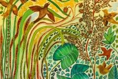 """""""Sommer jubel"""" af Nete Riemann - ecoline og akvarel 35x50"""