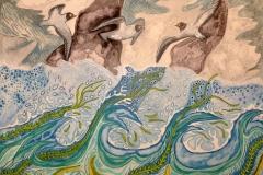 """Vand nr. 2"" – maleri af Nete Riemann, 2017 - Aquarel, 41x31"