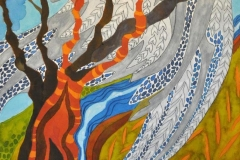 Vinterfugl - maleri af Nete Riemann - ecoline - 57X35,5