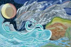 """""""Brænding"""", Tekstilkunst af Nete Riemann, 50x74"""