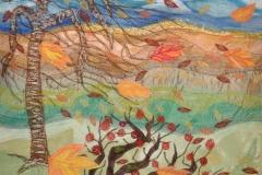 """""""Efterår"""", Tekstilkunst af Nete Riemann, 38 x 50"""