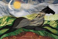 """""""Natligt ridt"""", Tekstilkunst af Nete Riemann, 80 x 63,"""