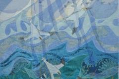 """""""Tre suler på havet"""", Tekstilkunst af Nete Riemann, 65X80"""