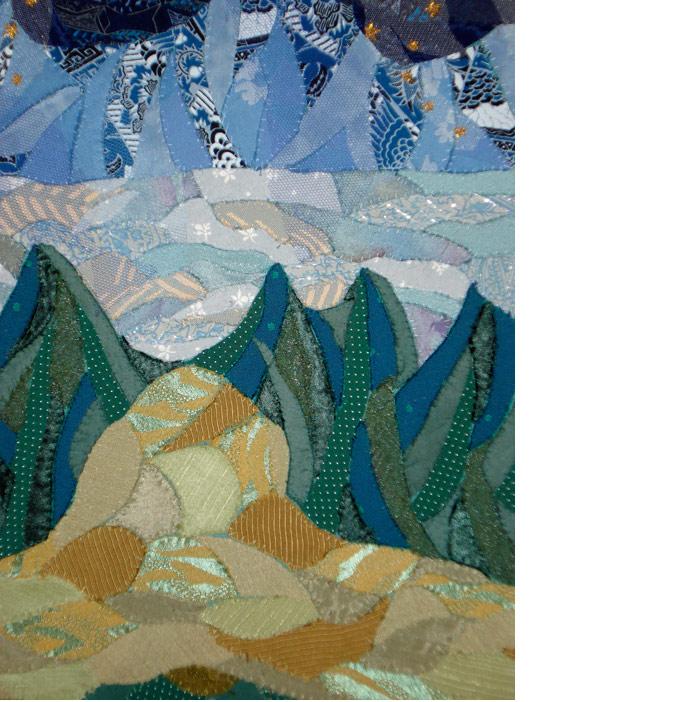 tekstilkunst og digt af Nete Riemann